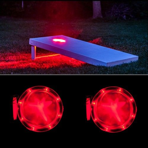 Lights for cornhole boards.  Light up your cornhole set at night.  Pick from blue, red, green, white or amber colors.