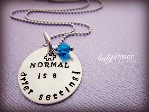 {gift ideas} Autism Awareness Hand Stamped Necklace, special needs child, love autism, puzzle piece, $19.00