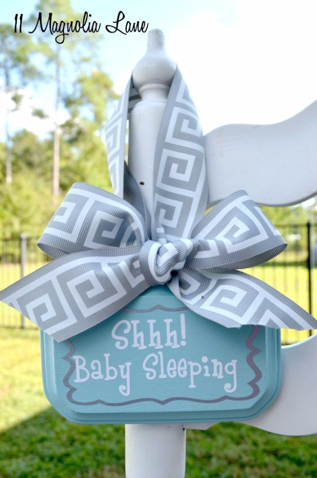 DIY Baby Gifts - DIY Baby Sleeping Door Hanging Sign - Homemade Baby Shower Presents and Creative, Cheap Gift Ideas for Boys and Girls - Unique Gifts for the Mom and Dad to Be - Blankets, Baskets, Burp Cloths and Easy No Sew Projects http://diyjoy.com/diy-baby-shower-gifts