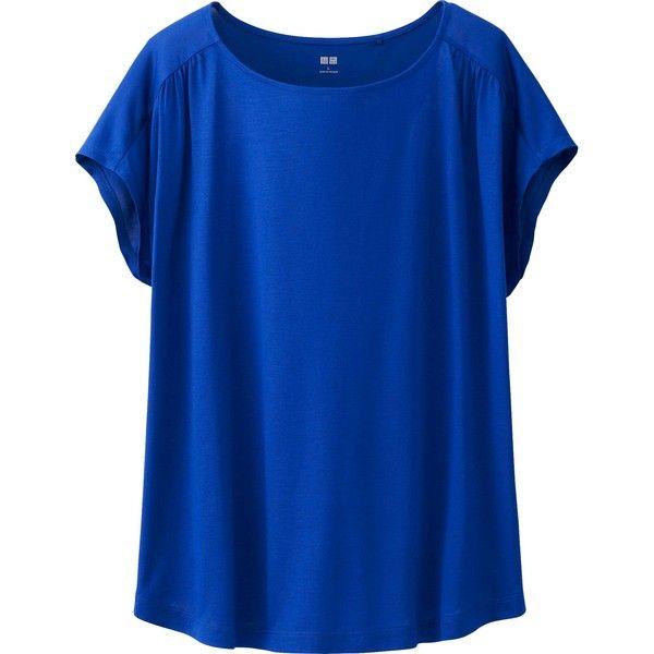 UNIQLO Women Drape Short Sleeve T-Shirt ($15) ❤ liked on Polyvore featuring tops, t-shirts, shirts, blouses, blue, blusa, uniqlo shirt, t shirts, drapey tee and dolman sleeve t shirt