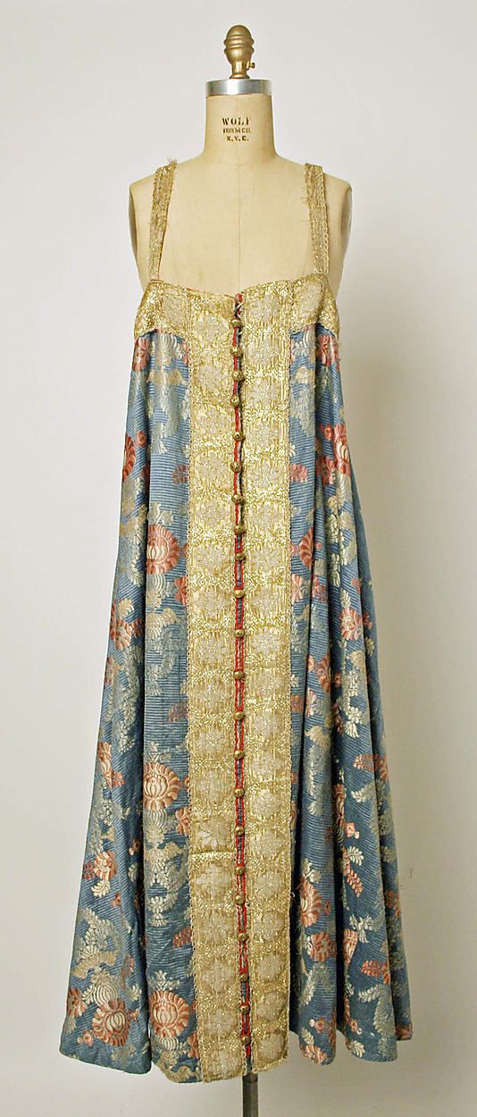 Russian dress, 19th century, silk, metallic thread, brass.