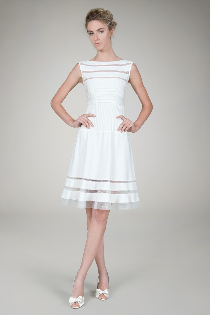 Cutout Jersey Boatneck Cocktail Dress in Ivory - Bridal Suite | Tadashi Shoji $288