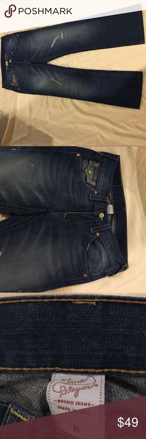 True Religion men's jeans size 31 x 30 World tour men's jeans blue Distressed True Religion Jeans Straight