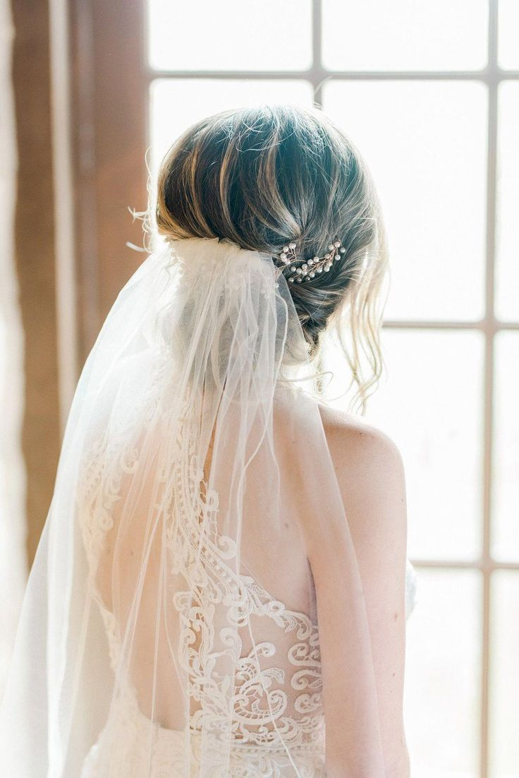 | gorgeous wedding veil for an updo hairstyle | boho chic wedding style | elegant bohemian wedding style | wedding hair accessories for the boho chic ...