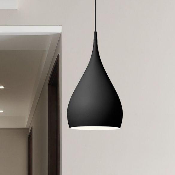 6 5 10 Wide Teardrop Pendant Lighting Modern Metal 1 Light Black White Red Hanging Light P In 2020 Black Hanging Lighting Hanging Light Fixtures Metal Hanging Lights
