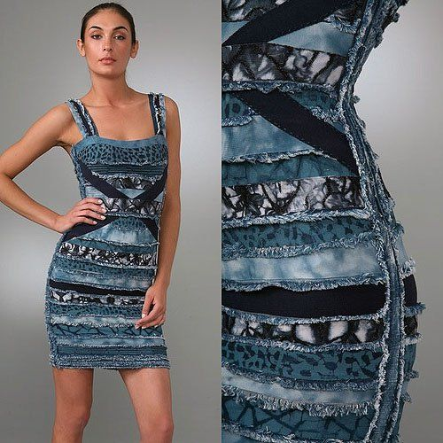The $2,800 Herve Leger Frayed Denim and Strips of Fabric Dress