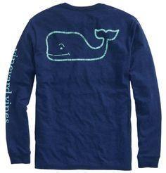 Vineyard Vines Long-Sleeve Pigment Dyed Vintage Whale Tee - Royal Ocean