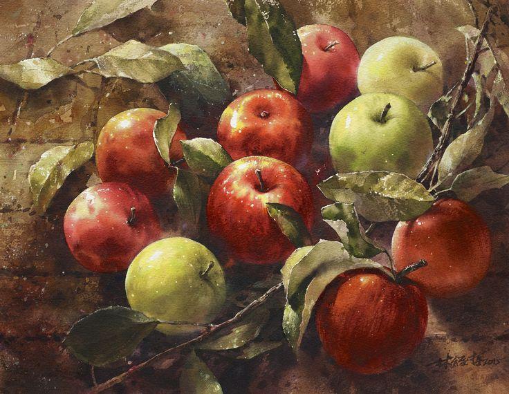 https://flic.kr/p/uB8D9q | 林經哲 Lin Ching-Che 《終將結成甜美的果實》 2015 Watercolor 30×39cm | (玄奘大學上課示範作品)