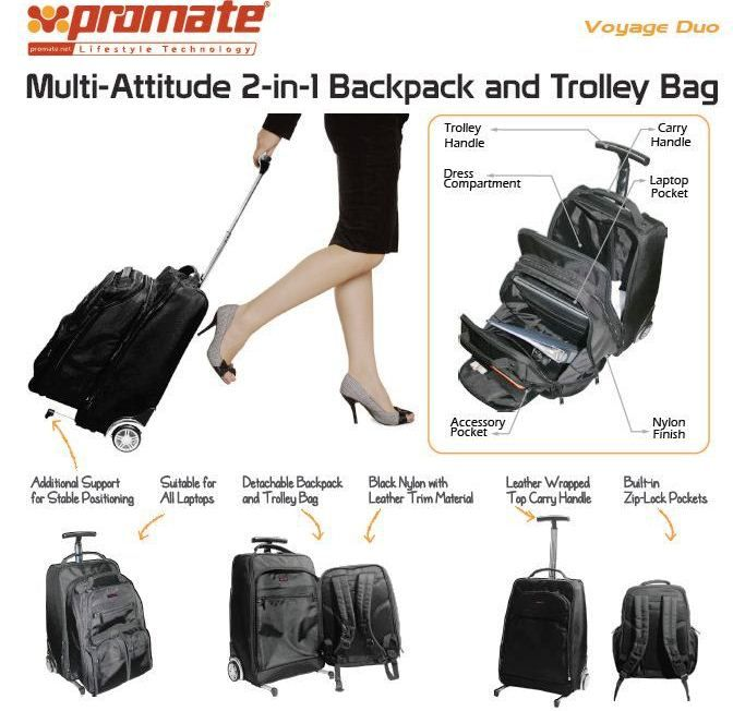 """http://www.satelectronics.co.za/ProductDescription.aspx?id=2727725 Promate VoyageDuo-15.6"""" Multi-Attitude 2-in-1 Backpack and Trolley Bag-Suitable for all laptops. Price: R 989.00"""