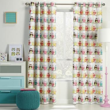 KOO Mc Owl Block Out Eyelet Curtains Multicoloured 220 - 270 x 223 cm | Spotlight Australia