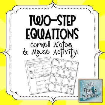 *FREE* Two-Step Equations Cornell Notes & Maze Activity
