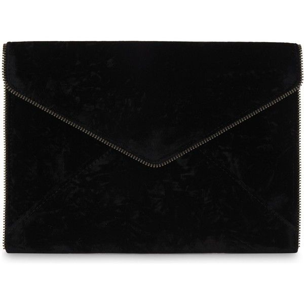 Rebecca Minkoff Leo velvet clutch ($120) ❤ liked on Polyvore featuring bags, handbags, clutches, zipper purse, rebecca minkoff handbags, velvet clutches, rebecca minkoff clutches and zip purse