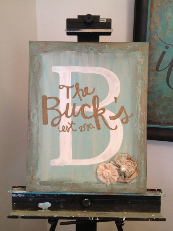 Personalized Canvas Painting with Embellishment by MadebyDesire, $54.00 **I love this!**
