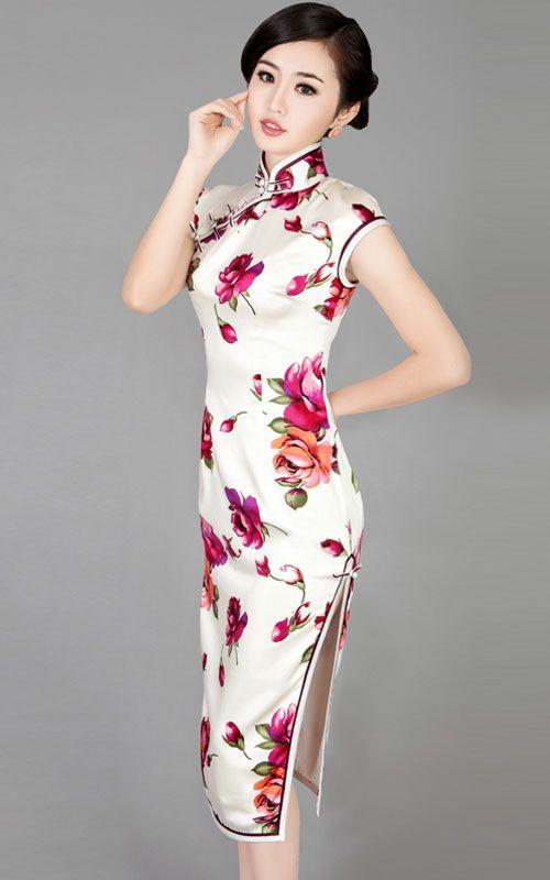 white chinese dress | Red floral heavy silk sleeves qipao white Chinese cheongsam dress 005