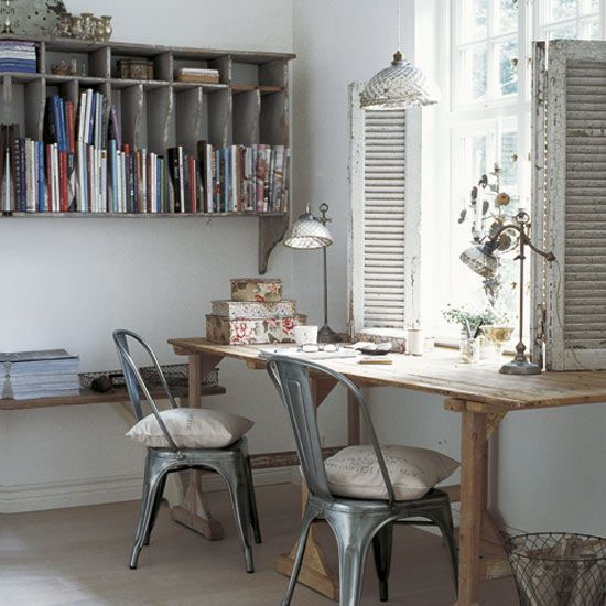 shabby chic office the grays are a nice change my office ideas pinterest industrial. Black Bedroom Furniture Sets. Home Design Ideas
