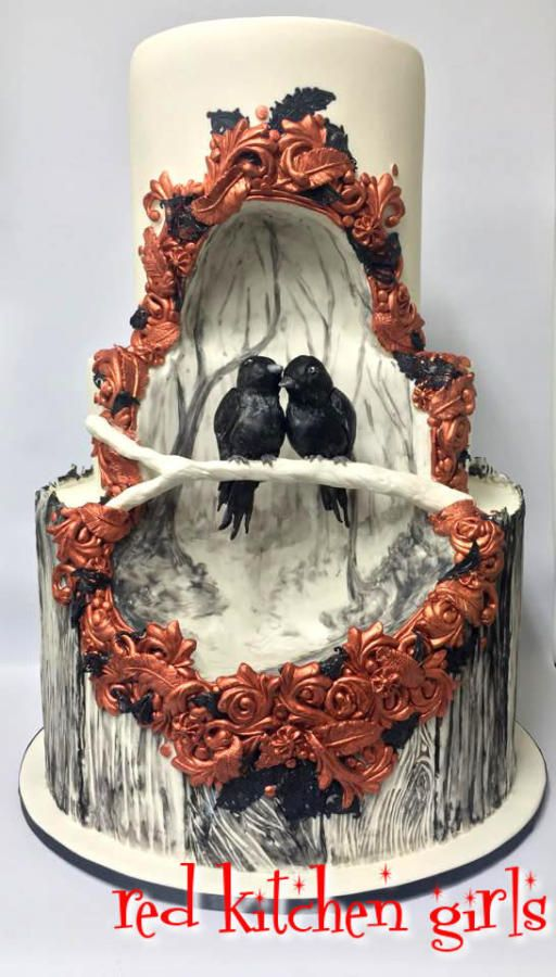 Black Bird Wedding by red kitchen girls  - http://cakesdecor.com/cakes/219048-black-bird-wedding