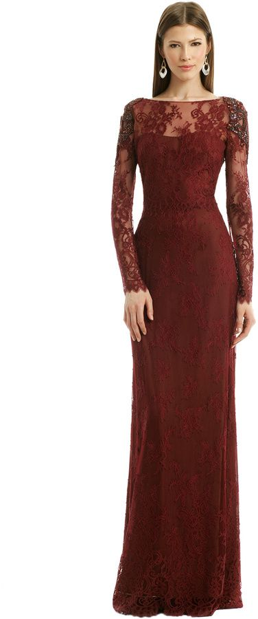 Marchesa Notte Kingsley Gown, Burgundy Lace (65.1% Nylon, 34.9% Polyester). Sheer long sleeves. Illusion boat neckline. Column skirt. Hidden back zipper with hook-and-eye closure. Lined. See size and fit tab for lengths. Made in China.