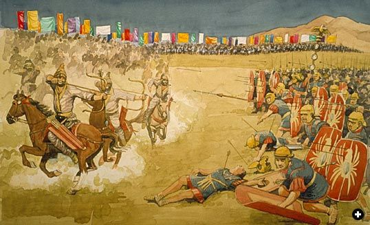 At the battle of Carrhae in 53 BC Roman legionnaries were dazzled by silk banners carried by the Parthian cavalry.