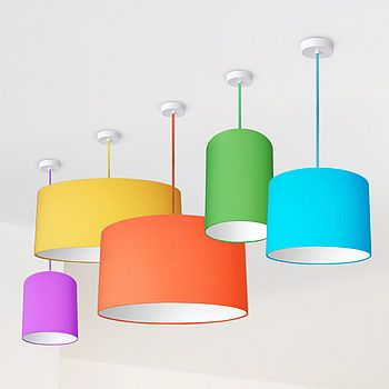 Plain Bright Coloured Lampshade - a good idea for a room that already has a lot of patterns going on.