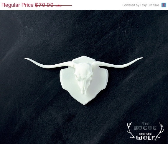 FESTIVE SALE 30% OFF -- Long Horn Bull Faux Taxidermy, Bull skull, horns western home decor, mounted animal skull, long horn trophy, mini t. $49.00, via Etsy.