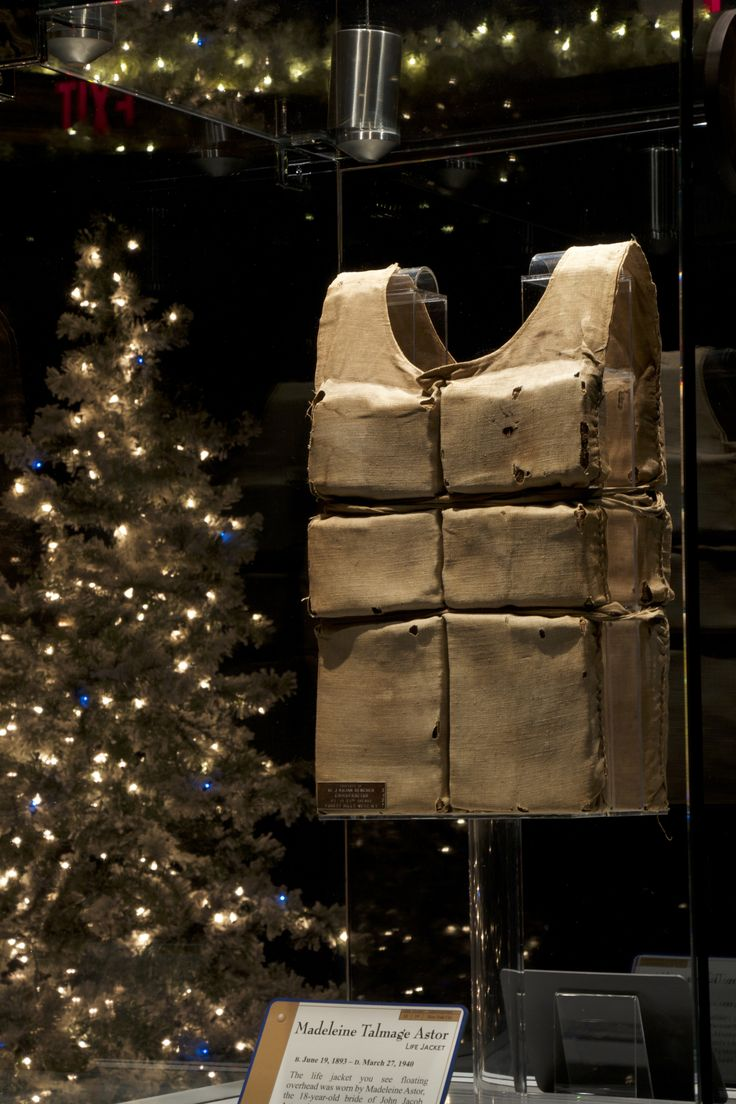 Madeleine Astor's life belt hangs in the Memorial Room. This lifebelt is the…