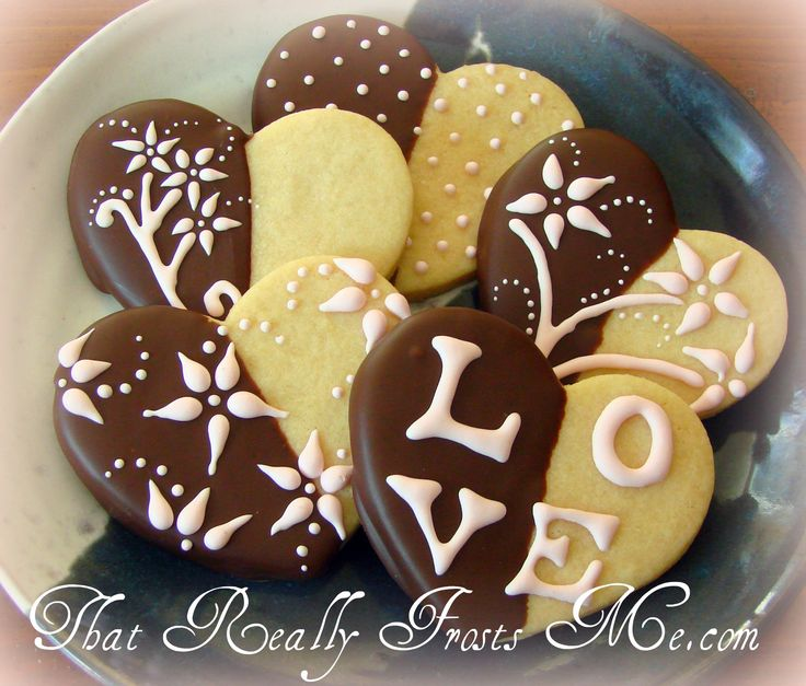 Chocolate Dipped Valentines - Sugar cookies half dipped in ...