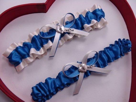 Wedding Garters Silver Royal Blue Ivory Set Keepsake Toss   Prom
