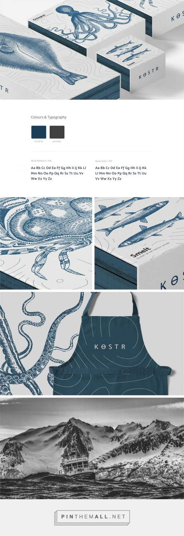 Kostr seafood packaging design by Matt Ellis - http://www.packagingoftheworld.com/2017/11/kostr.html