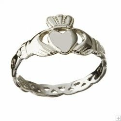 10ct White Gold Claddagh Ring with Celtic Knot Shank