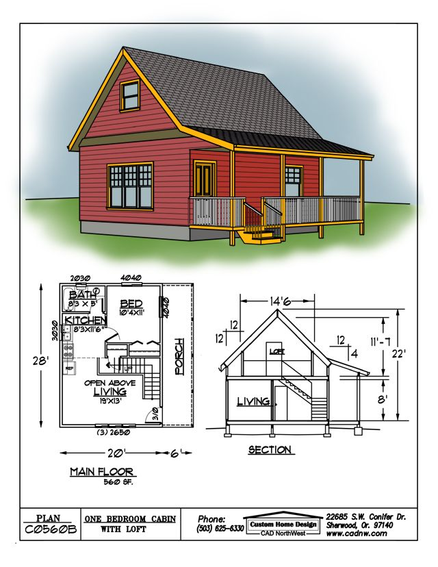 sales drawing C0560B Cabin plans Cabin house plans