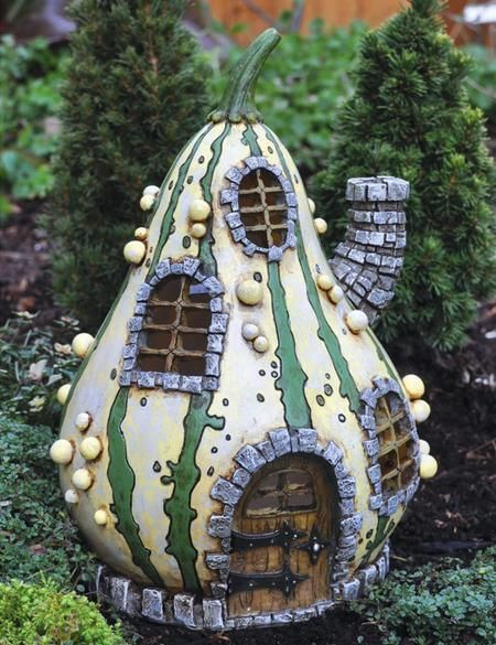 Beautiful Fiddlehead Fairy Garden Striped Gourd Fairy Home   Make U0027homesu0027 From  Recycled Stuff U0026 Add Things From Nature For Doors, Windows U0026 Shutters