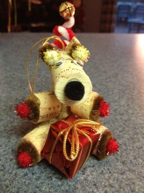 Wine Cork Reindeer Christmas Ornament.