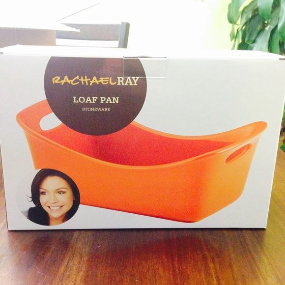 "New in box Rachel Ray orange loaf pan. New in box Rachel Ray orange loaf pan.  9"" x 5""   Contemporary designs.  Wide handles w/holes Dishwasher, microwave, freezer safe and oven safe to 500* F.  Bake and serve (meatloaf, banana bread, lagsana, pound cake,etc or even use as serving dish for sides) Great as Christmas present just like store bought Other"