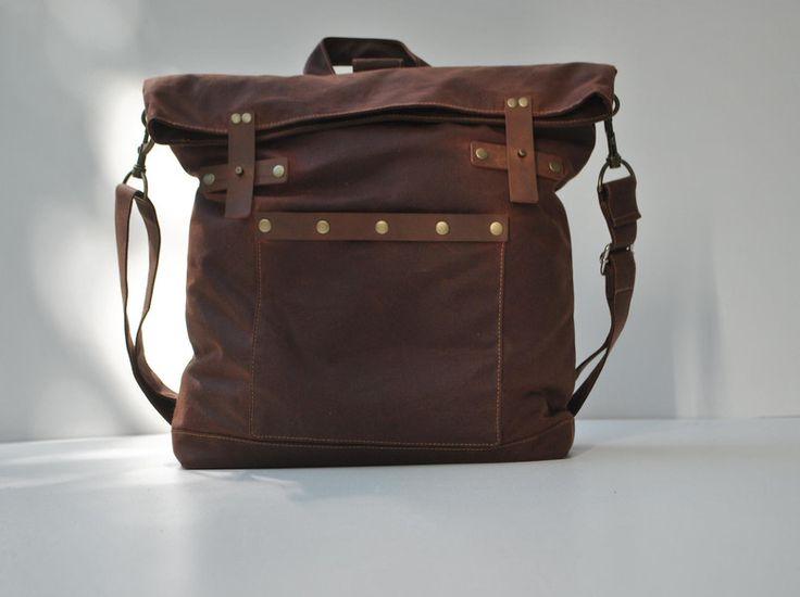 gewachstes Canvas Rucksack&Umhängetasche,braun von CHANTA auf DaWanda.com