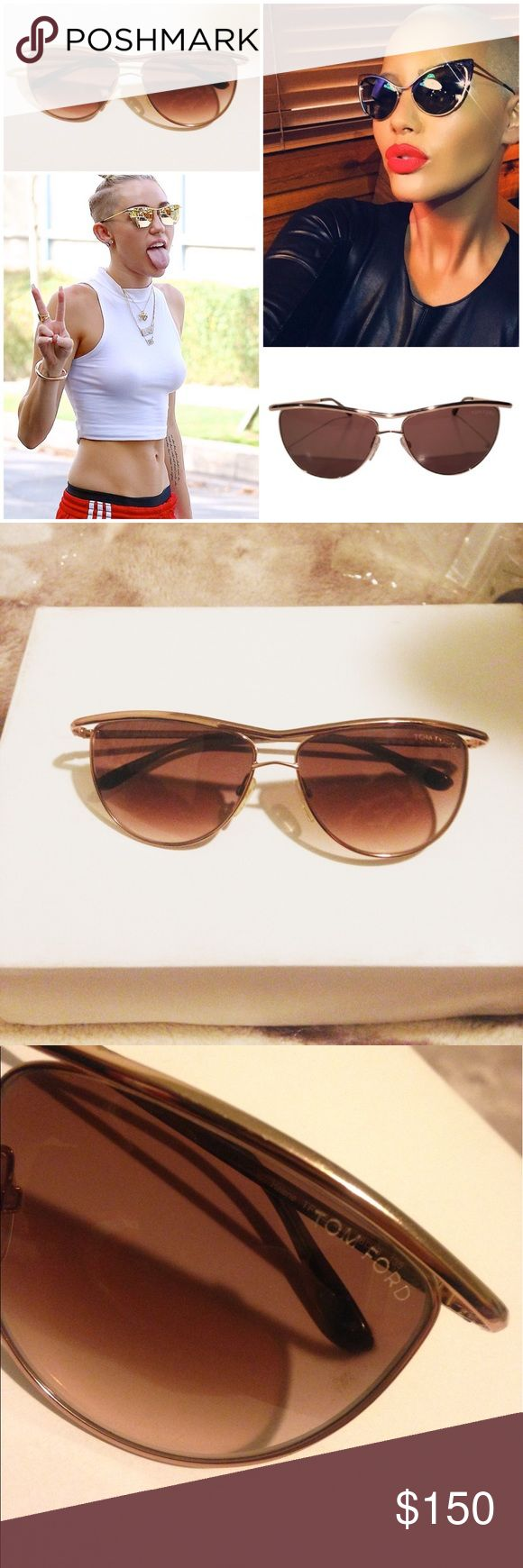 AUTHENTIC 💯 Tom Ford Helena Gold oval sunglasses Authentic Tom Ford Sunglasses Made in Italy, cover photo is not for sale. Glasses only for sell, no box!. These in particle have been through a lot. It's traveled different countries & has been worn a lot. I've even payed to get it fixed (see last picture) to tighten the right side. No HARSH scratches but if you hold them up in sunlight you will see wear on them. I've had these for 2 yrs & It's time to get another.Check my 5 Star Rating…