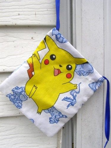 AWESOME vintage Pokemon cotton Geek Bag with Satin ribbon Drawstring closure     O.K. So Whats a Geek Bag....       Ive been making these geek Bags