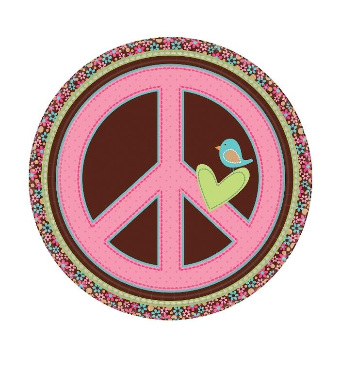 PLATO HIPPIE CHIC. Encantadores Platos de cartón plastificado con un diseño dulce y con el simbolo de la paz. Ideales para cualquier celebración