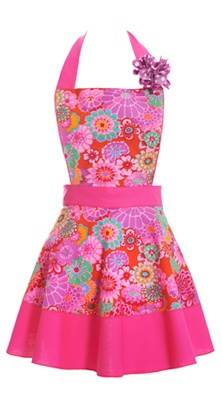 Asian Flowers Pink Apron  $44