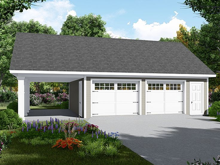 001g 0007 Two Car Garage Plan Features Carport And Storage Closet