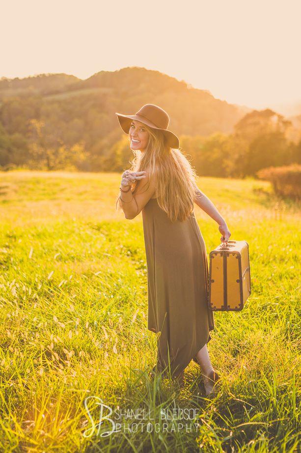 boho, hippie senior portrait photos with vintage suitcase. Peace out!