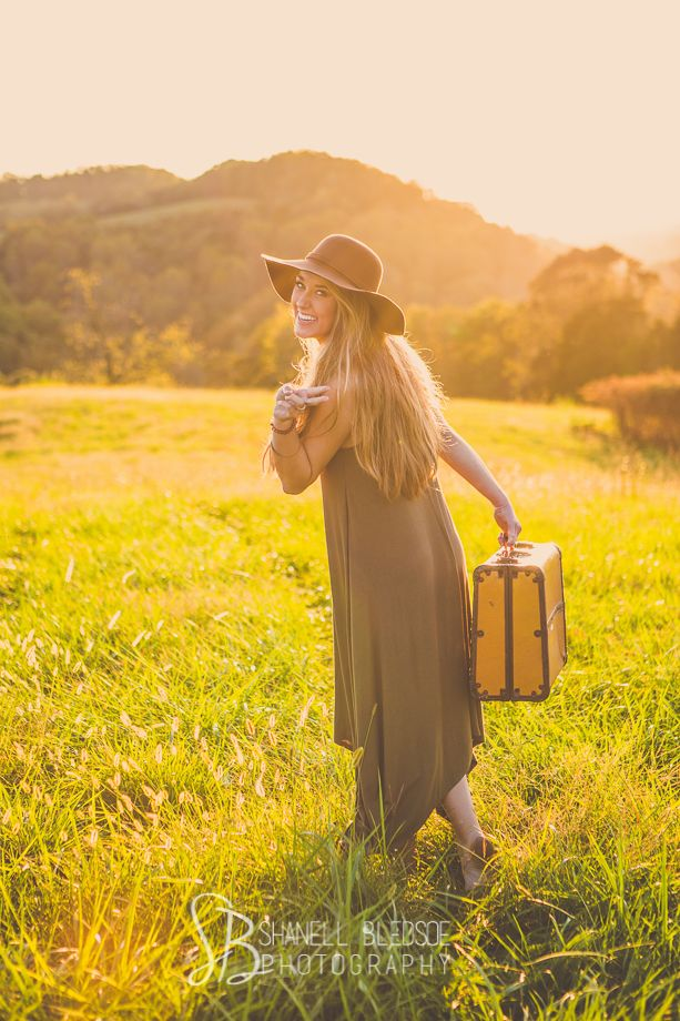 boho, hippie senior portrait photos with vintage suitcase. Peace out!