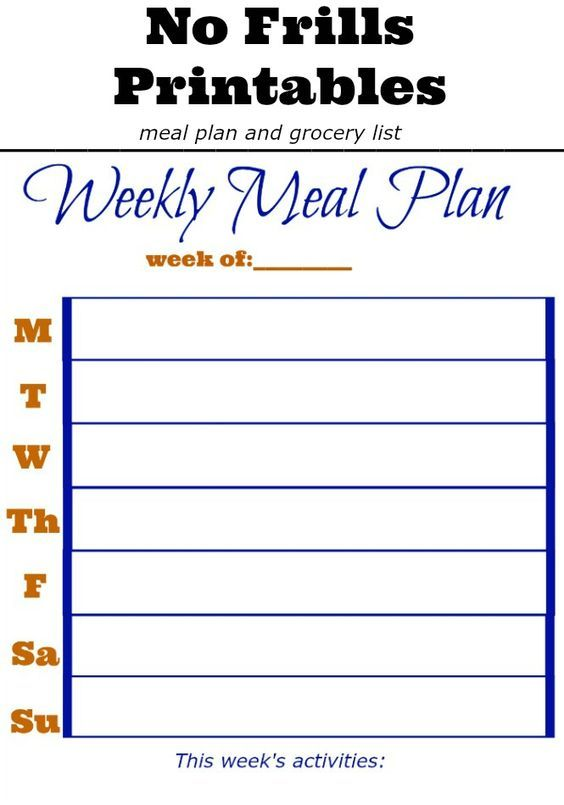 The 25+ best Meal planning printable ideas on Pinterest Free - weekly meal plan