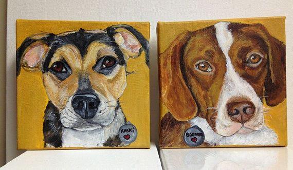 SALE* Two 6x6 Custom Pet Portraits for 125.