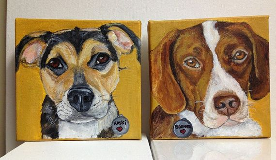 SALE* Two 6x6 Custom Pet Portraits for 125.