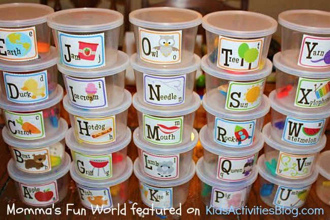 alphabet sounds buckets, fill with things that make the correct letter sound fun way to start phonemic awareness via @angela4design
