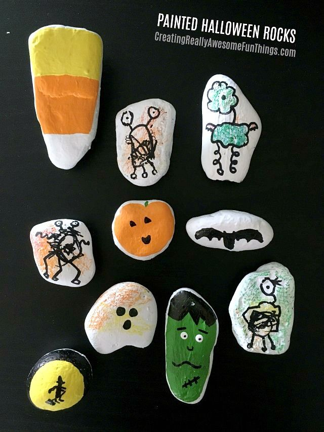 Kid painted Halloween rocks!