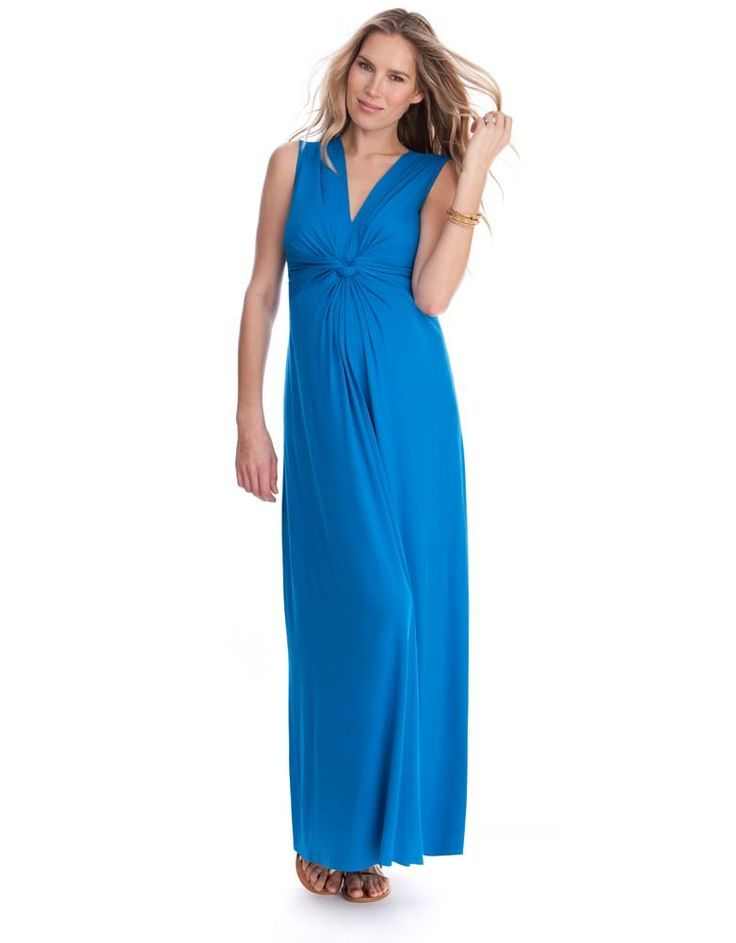 Turquoise Knot Front Maternity Maxi Dress. Blue Maxi DressesBaby Shower ...