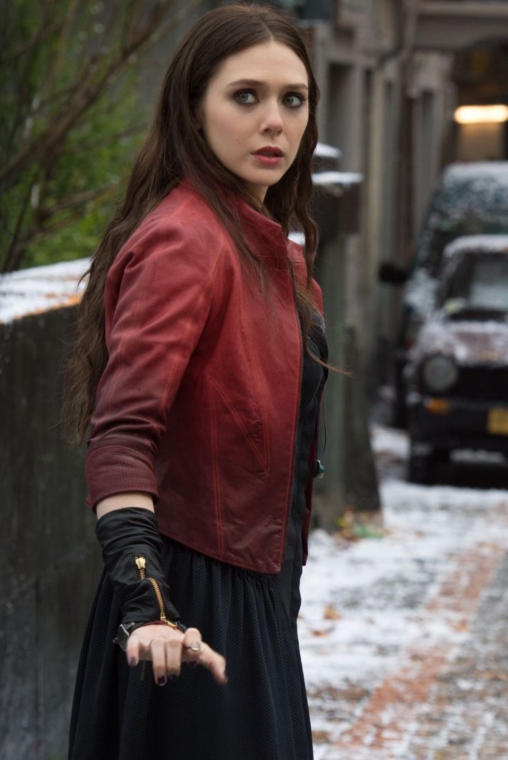 Elizabeth Olsen   As Scarlet Witch aka Wanda Maximoff, you don't see how light her eyes really are. But in this picture you see her eye colour.