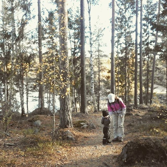 Syysmetsässä. In a forest with my 2 y. Grandson 😍#syysmetsässä #lokakuu #lastenlapset #ourfinland