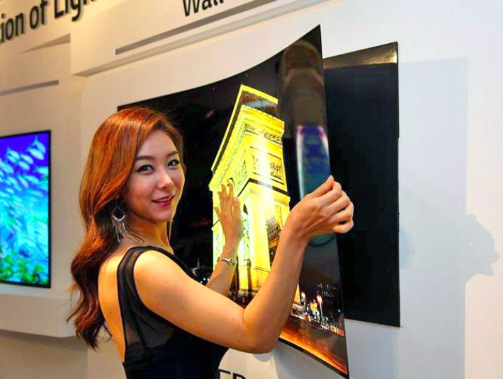 The proof of concept OLED TV 'wallpaper' from LG Display is less than 1mm thick and weighs just four pounds.